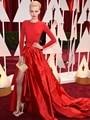2017 Фантастические Вечернее Платье Вдохновлен Dorith Мов Сшитое Сторона Сплит С Длинным Рукавом Красный A-Line Формальные Occastion Женщины Носят