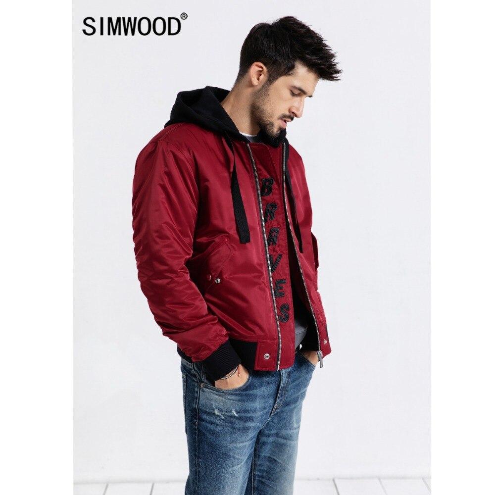 SIMWOOD 2019 סתיו מפציץ מעיל גברים בתוספת גודל הלבשה עליונה רקמת מעיל רוח מקרית מעילי Slim fit מותג בגדי 180588