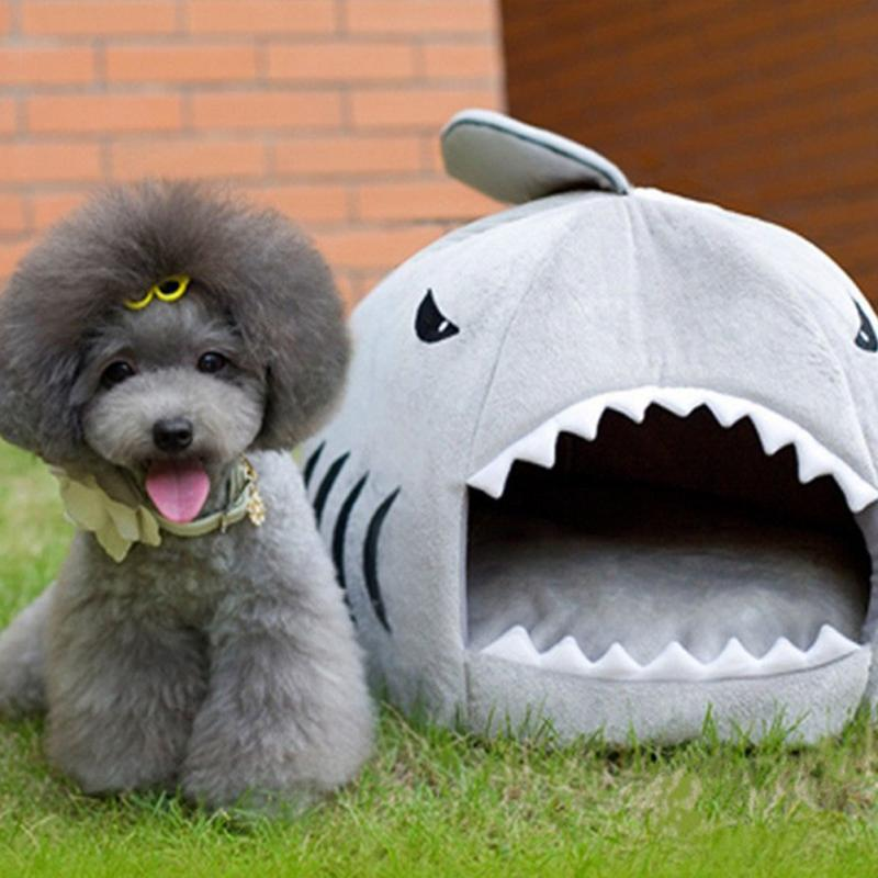 New Shark Shape Cat Beds Warm Soft Dog House Pet Sleeping Bag Dog Kennel Beds For Cat House Nest Mat Pet Products