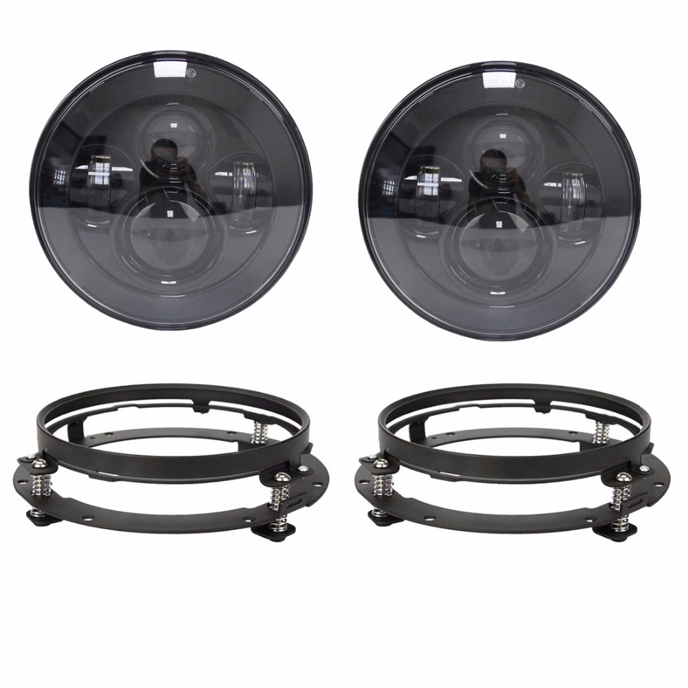 "7"" inch Round Headlights Led Daymaker Replacement For Jeep Wrangler 97-15 Hummer with 2 pcs 7 mounting bracket ring support"