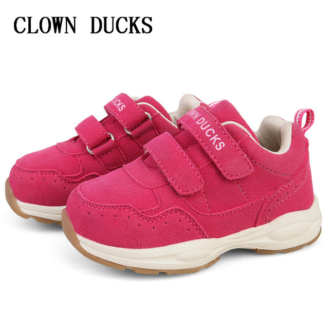 Girls Non-slip Casual Shoes PU Leather Children Shoes Baby Sneakers Girls Shoes Boys Sneakers CLOWN DUCKS Yellow Gray Red