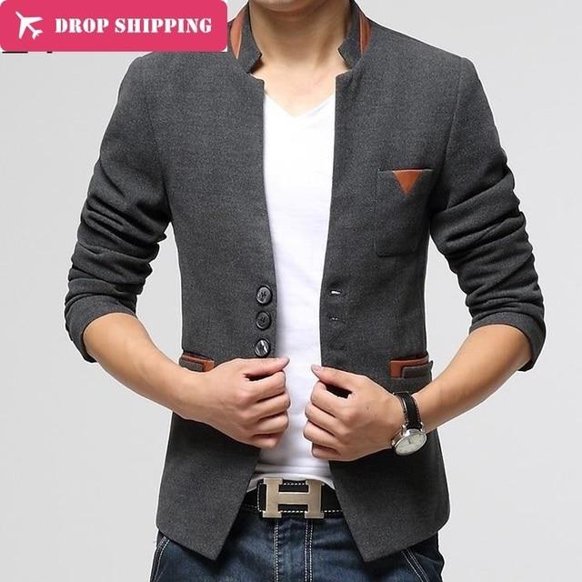 New Blazer Men Top Quality Men's Woolenblends Single Button Casual Blazer ,men's Business Slim Jacket Coat ,3xl=us L ,g2798
