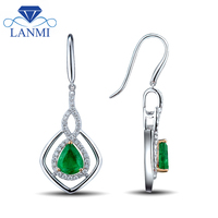 Women Jewelry Fantastic Gorgeous Pear 6x8mm Emerald Earrings In Solid 14Kt White Gold Diamond Gemstone Jewelry WP039