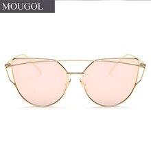 MOUGOL 2018 Brand Designer Cat eye Sunglasses Women Vintage Metal Reflective Glasses For Mirror Retro