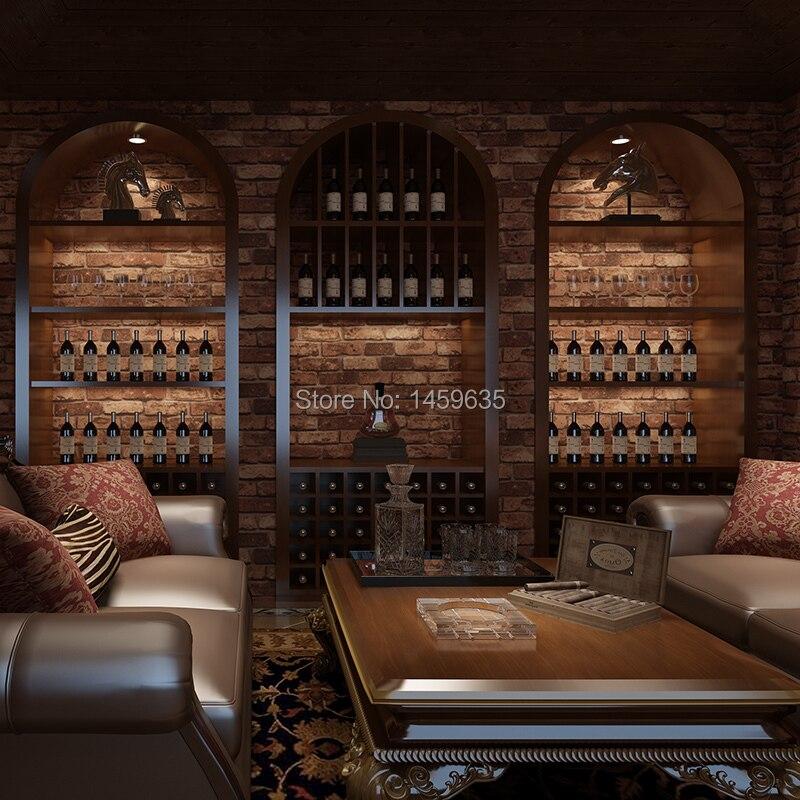 Chinese stereoscopic 3D imitation brick brick wallpaper pattern wallpaper retro restaurant bar living room TV backdrop bricks 自宅 ワイン セラー