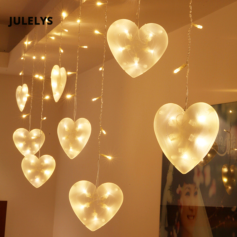 Us 19 98 30 Off 3m X 0 75m 120 Bulbs Heart Led Curtain Lights Christmas Garland Window Outdoor Decoration For Wedding Holiday Party In