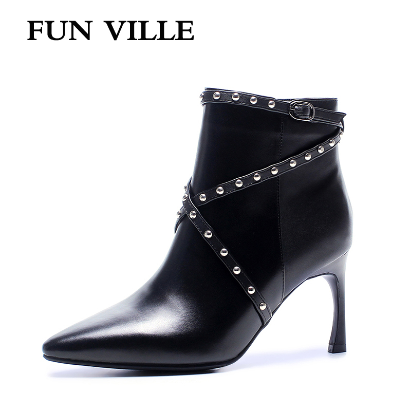 FUN VILLE 2017 Autumn Winter Women Ankle Boots Genuine leather High heel Solid Pointed toe Zipper sexy Ladies shoes size 34-42 fashion winter women short boots sexy pointed toe platform high heel shoes big size 32 46 solid pu ladies zipper ankle boots