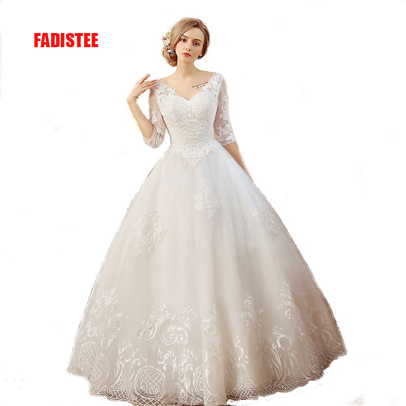 FADISTEE New arrival elegant wedding dress Vestido de Festa dress royal  train appliques long tulle style wedding party gold lace 791454805e46