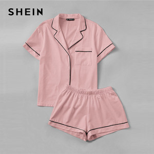 Image 5 - SHEIN Pink Contrast Piping Pocket Front Shirt Pajama Set Short Sleeve Lapel Top With Elastic Waist Shorts Womens Two Piece Sets