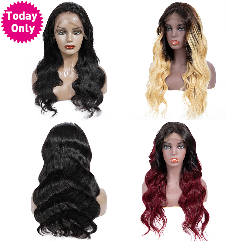 TODAYONLY Brazilian Body Wave Wig Ombre Blonde Lace Front Human Hair Wig Lace Frontal Wig Short
