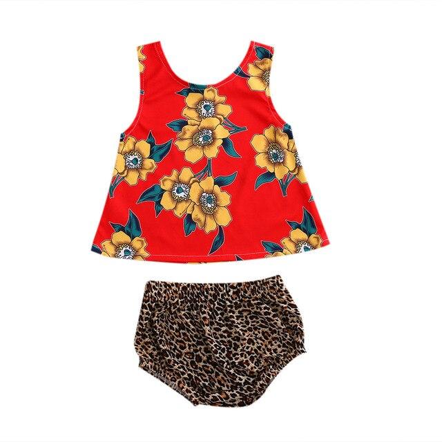 f9326deb3 0-5T Babies Girl Summer Floral Clothing Sets Infant Baby Girls Sunflower  Vest Tops+