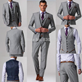 Custom Made Suits Light Grey Groom Tuxedos Suits Wedding Groom Wear Vest/Mens Suits Jackets+Pants+Vest terno para noivo