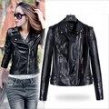 PU leather Jackets Women 2015  Top Sale Spring Punk Jackets Turn-down Collar Zipper Leather Coat Vestidos Femininos