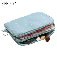 Travel Double-decker Document Bag Passport Wallet Multi-function Used To Store ID Card,Charger , Cosmetics Organizer