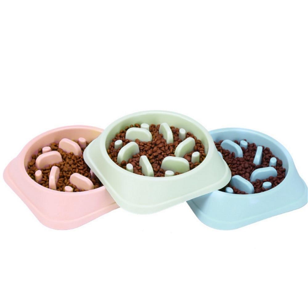 2019 New Pet Dog Bowl Slow Feeder Plastic Anti Choking Puppy Cat Eating Dish Bowl Anti-Gulping Food Plate