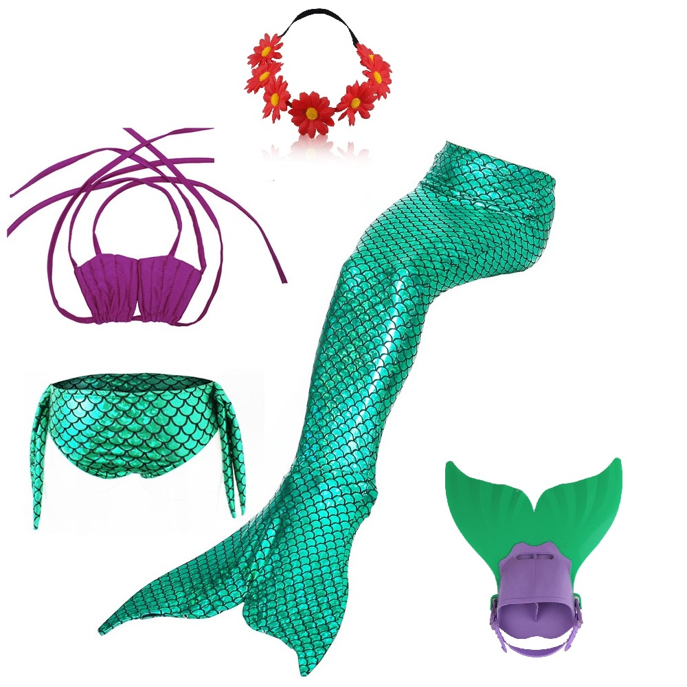 Swimming Swimmable Green Mermaid Tail Monofins Girls