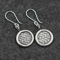 Handmade Silver Medallion features woven Earrings 925 Sterling Silver Thailand Ms. Chiang Mai import original new