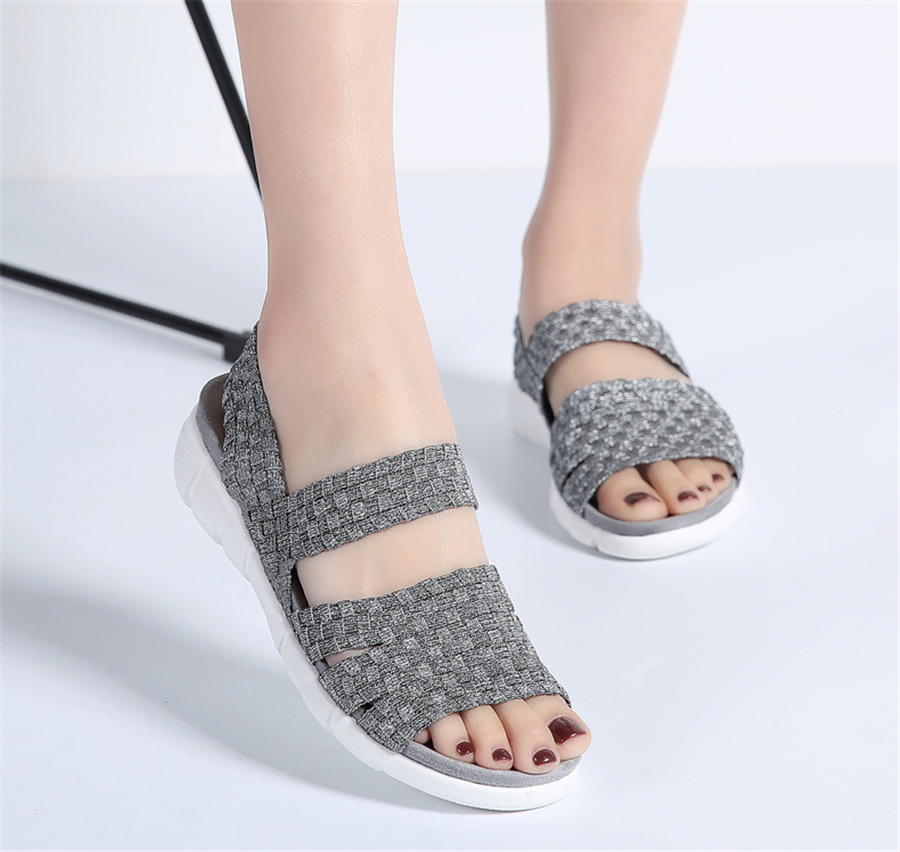 HTB11llIbHArBKNjSZFLq6A dVXaR STQ 2019 women flat sandals shoes women woven wedge sandals ladies beach summer slingback sandals flipflops jelly shoes 803