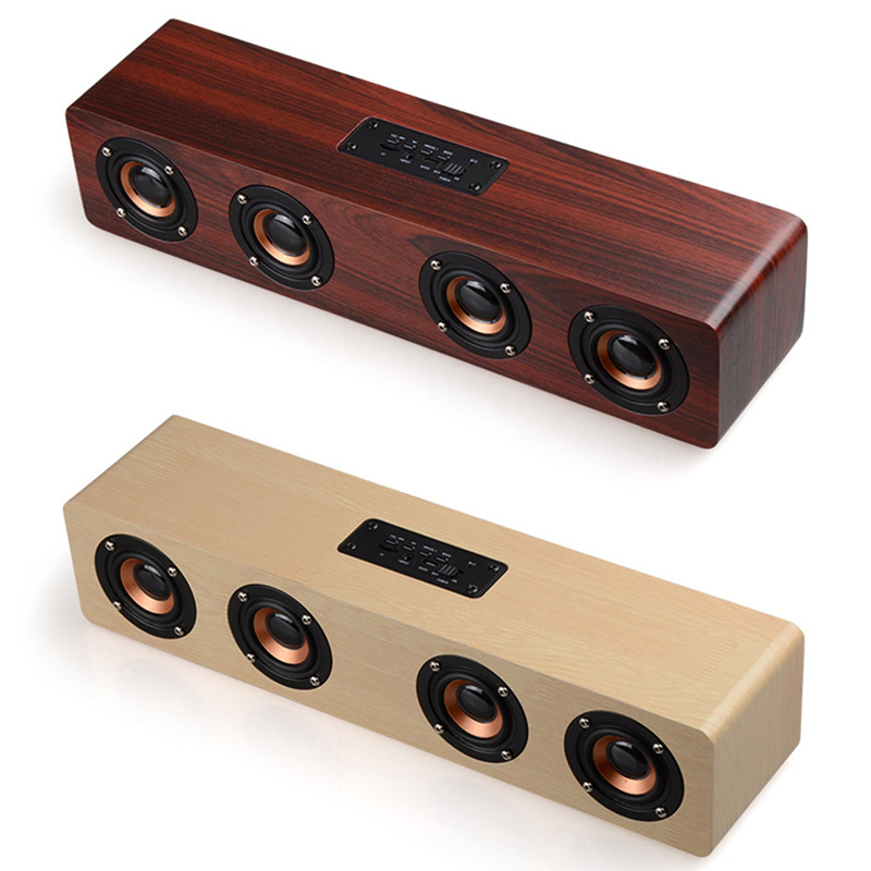 Bluetooth Music Center Stereo Wooden Speaker 4 Sound Box Horn Wireless Portable Casual Travel Subwoofer MP3 Player Speaker tronsmart element t6 mini bluetooth speaker portable wireless speaker with 360 degree stereo sound for ios android xiaomi player