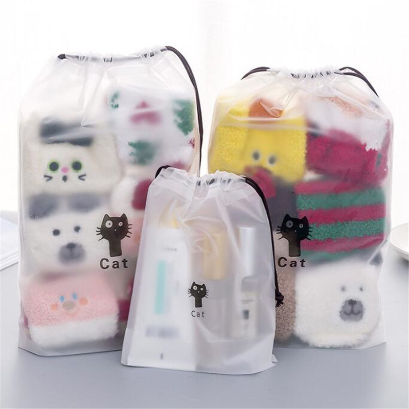 Cosmetic-Bag Storage-Pouch Drawstring Travel Transparent Women Cat Cute 1-Pc