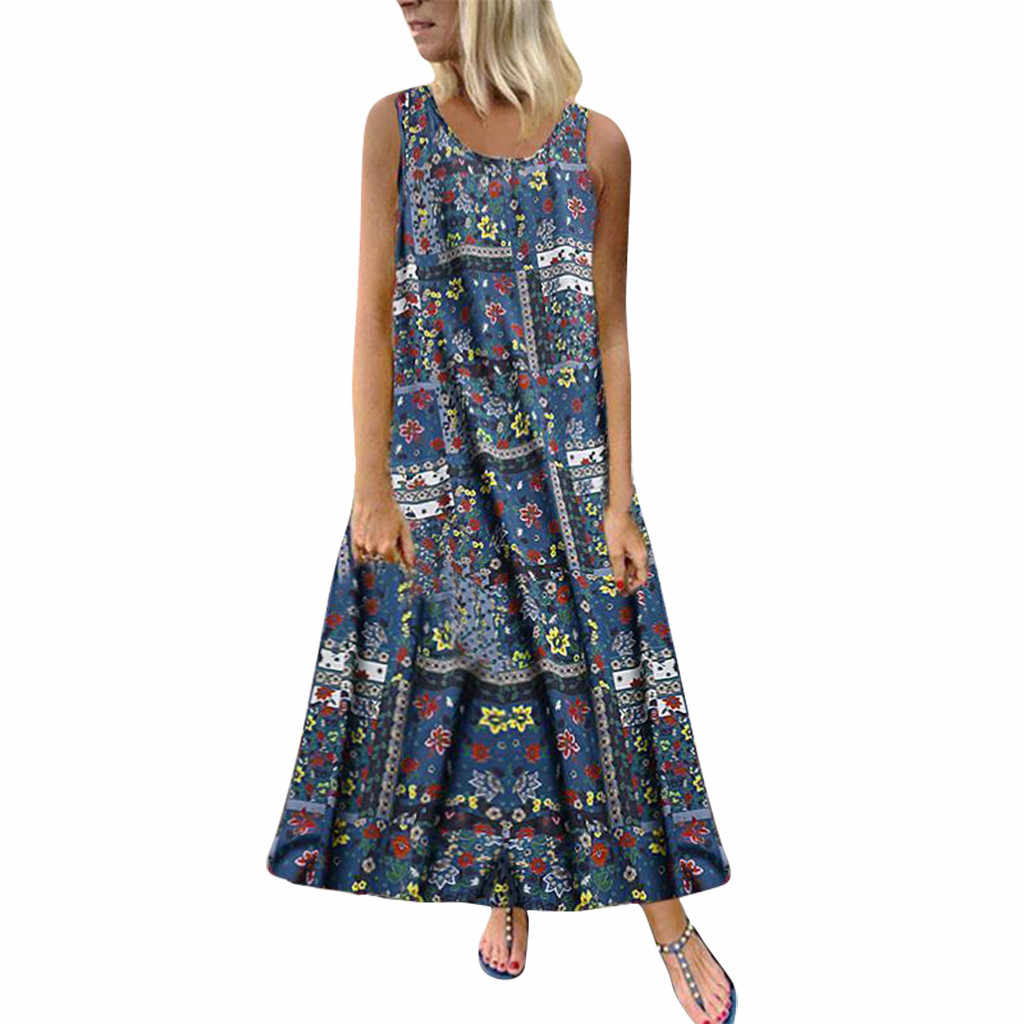 Women Plus Size Maxi Long Dresses Bohemian Floral Print Sundress Casual O Neck Sleeveless Loose Vestidos Folk Dress Femme # 29