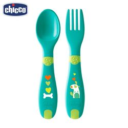 Набор для кормления детский Chicco (ложка и вилка), пластик,12 мес.+