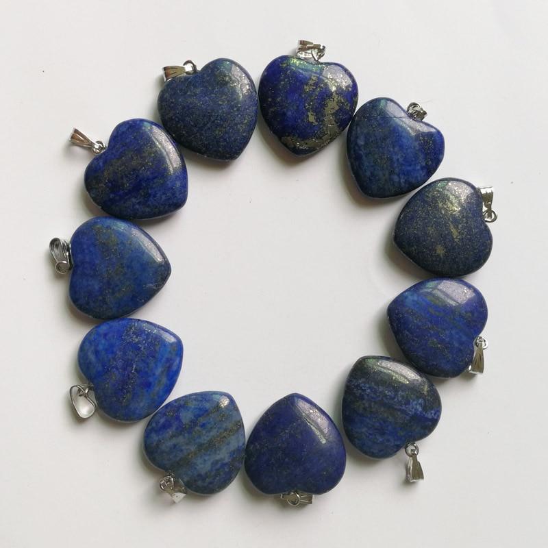 Moda dobre kvalitete Lapis lazuli 20mm srce Privjesci od prirodnog kamena Šarm Nakit Love privjesak za izradu nakita 24Pcs / lot