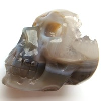 1 PC Carved Natural Agate Stone Geodes Crystals Skull Craft Healing Exquisite Gift Or Home Decoration