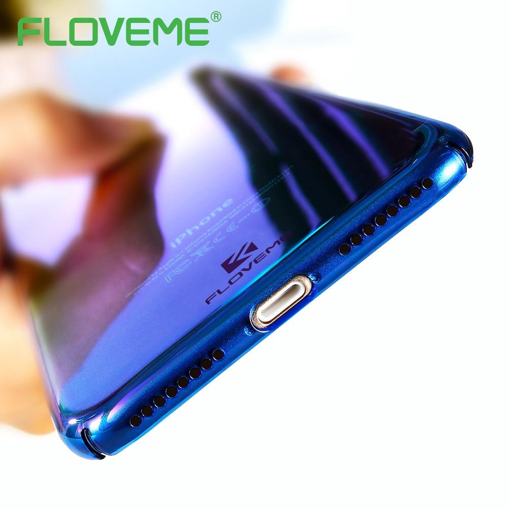 FLOVEME Caso Para el iphone 6 6 S Plus Funda Aurora Cristal Claro gradiente Azul
