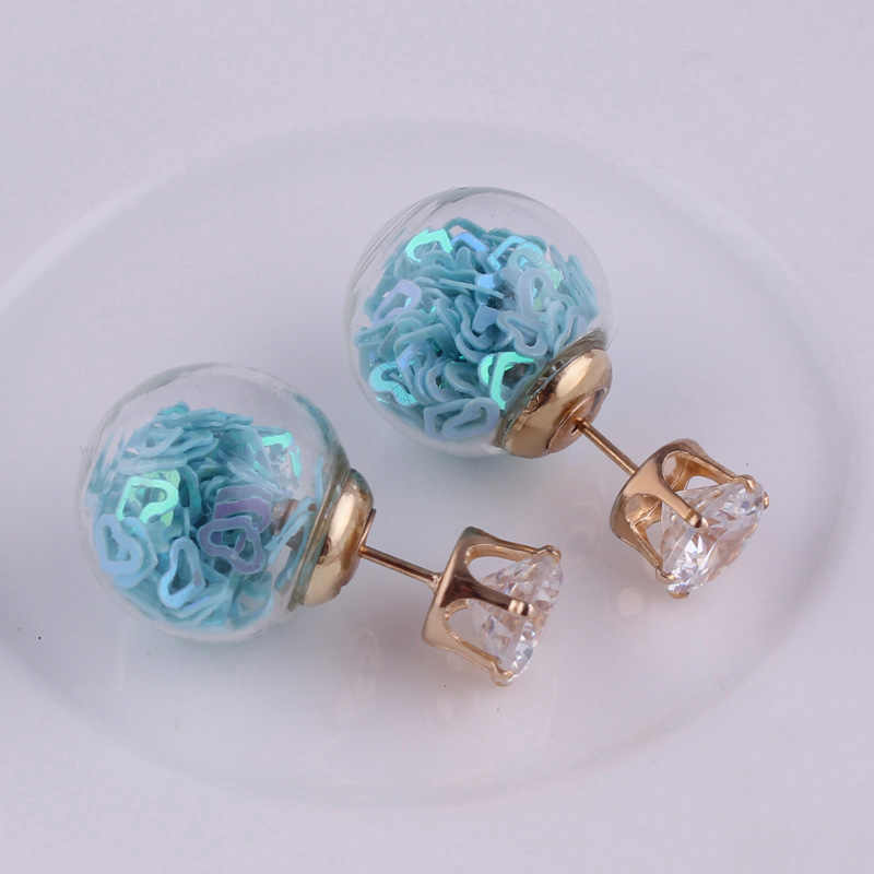 Btuamb Nieuwe Maxi Kleurrijke Pailletten Liefde Hart Oorbellen Crystal Dubbele Kanten Grote Bal Oorbellen voor Vrouwen Sieraden Gratis Stijl