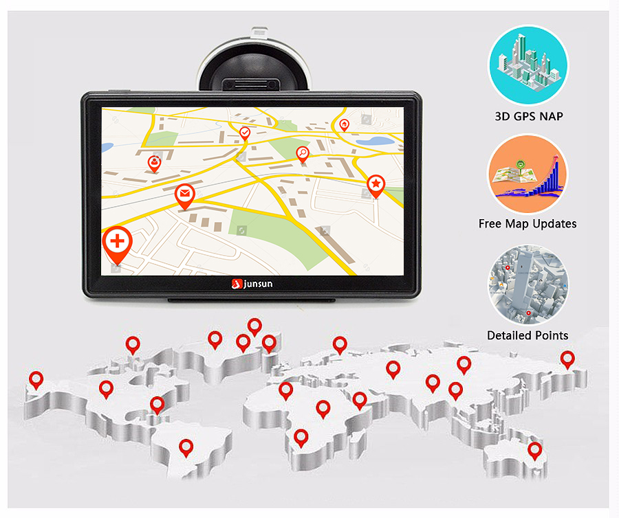 "7"" HD FM Bluetooth Car GPS Navigator - D100 10"