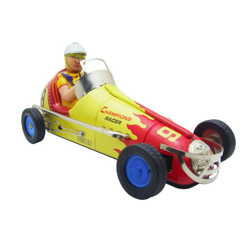 Vintage Clockwork Wind Up Retro Racing toys Photography Children Kids Adult Racing Tin Toys Classic Toy Christmas Gift
