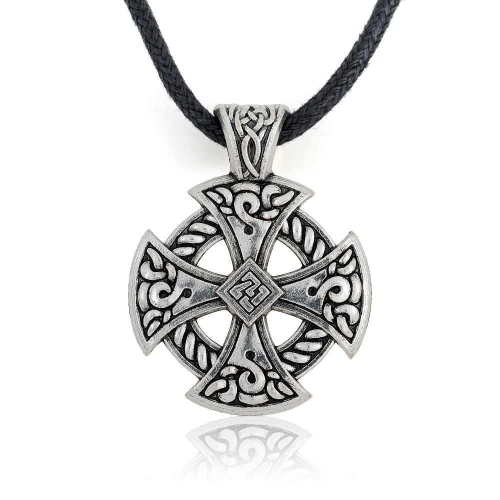 Mój kształt krzyż Viking tarcza naszyjnik biżuteria tybetański srebrny słoneczny krzyżowy węzeł religijny Christian Irish Druid Leather