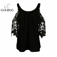 Summer elegant petal short sleeve women chemise casual hollow out off shoulder O-neck chiffon lace femme blouses sexy shirt tops