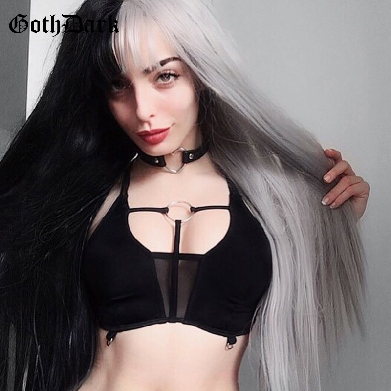 Goth Dark Grunge Black Sexy Crop   Tops   Gothic Summer 2019 Metal Ring Patchwork Harajuku Fanshion   Tank     Tops   Hollow Out Backless