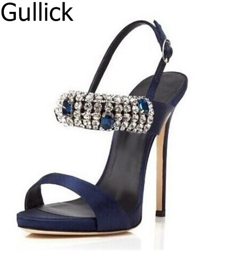 eab9109ac76e New Designer Summer Hot Selling Blue White Satin Sandals Jeweled Buckle  Platform Stiletto Heel Cut-