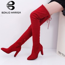 BONJOMARISA Brand New Big Size 34-43 High Heels Pointed Toe Women Shoes Woman Autumn Spring Over The Knee Thigh High Boots(China)