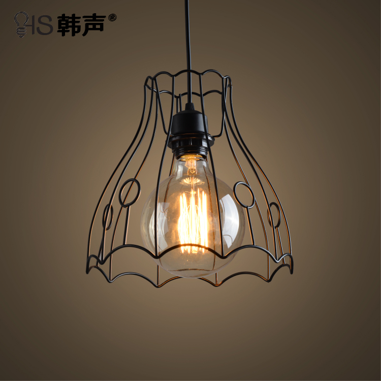 ФОТО Modern Simple Wrought Iron Black Loft Cafe Bar Restaurant  Pendant Lamp