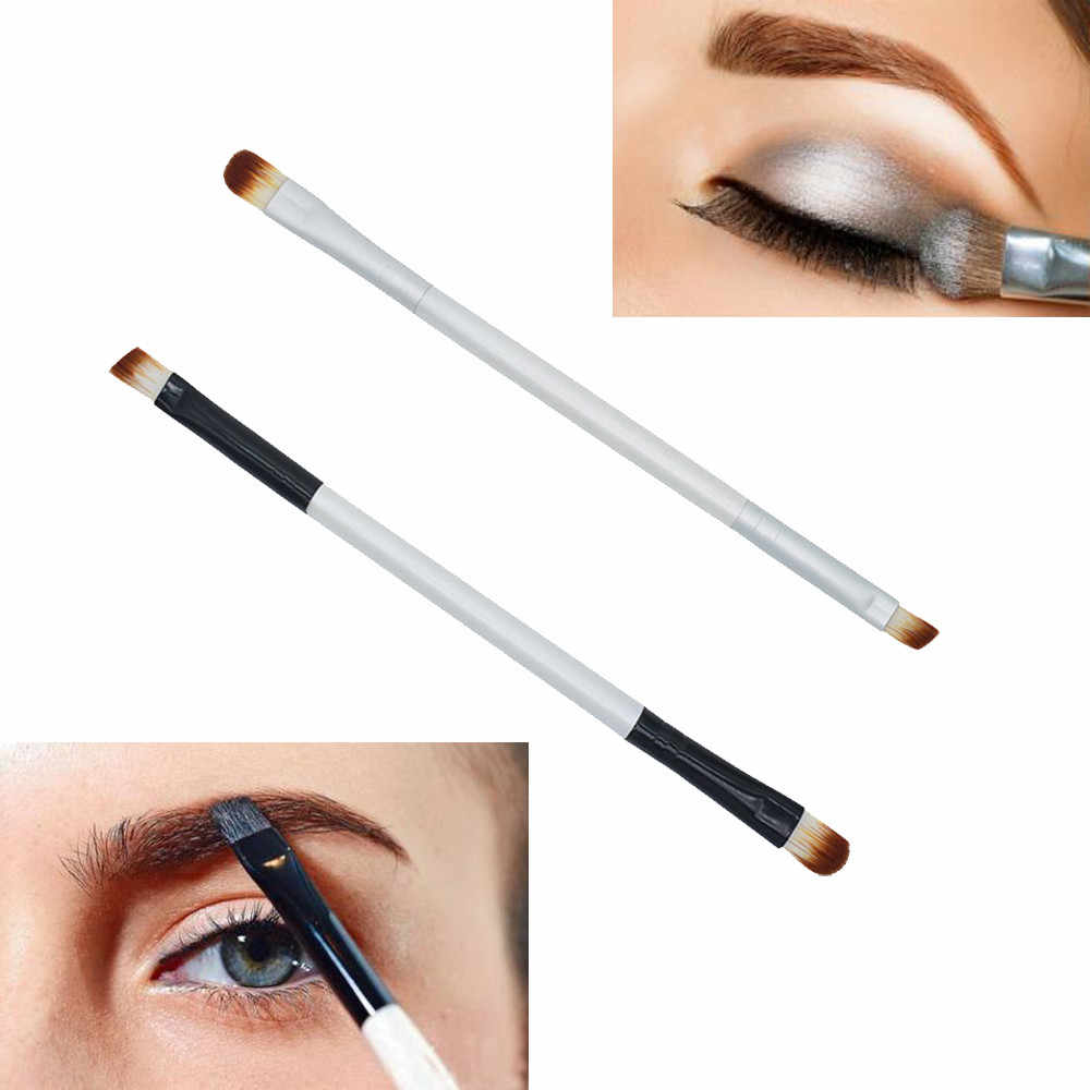 Makeup Brush 14CM Black soft Portable wooden Double-end Powder Eyeliner Eyeshadow Brushes Applicator women Makeup Cosmetic Tool