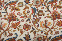 1 Meter Beige Bottom With Retro Floral Print 100 Cotton Canvas Fabric For Curtain Sofa Pillow