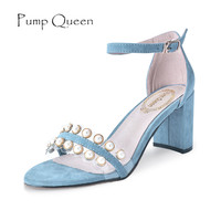 Fashion Women High Heel Sandals Pearl Flock Open Toe Shoes Summer Ladies Party Wedding Square Heel