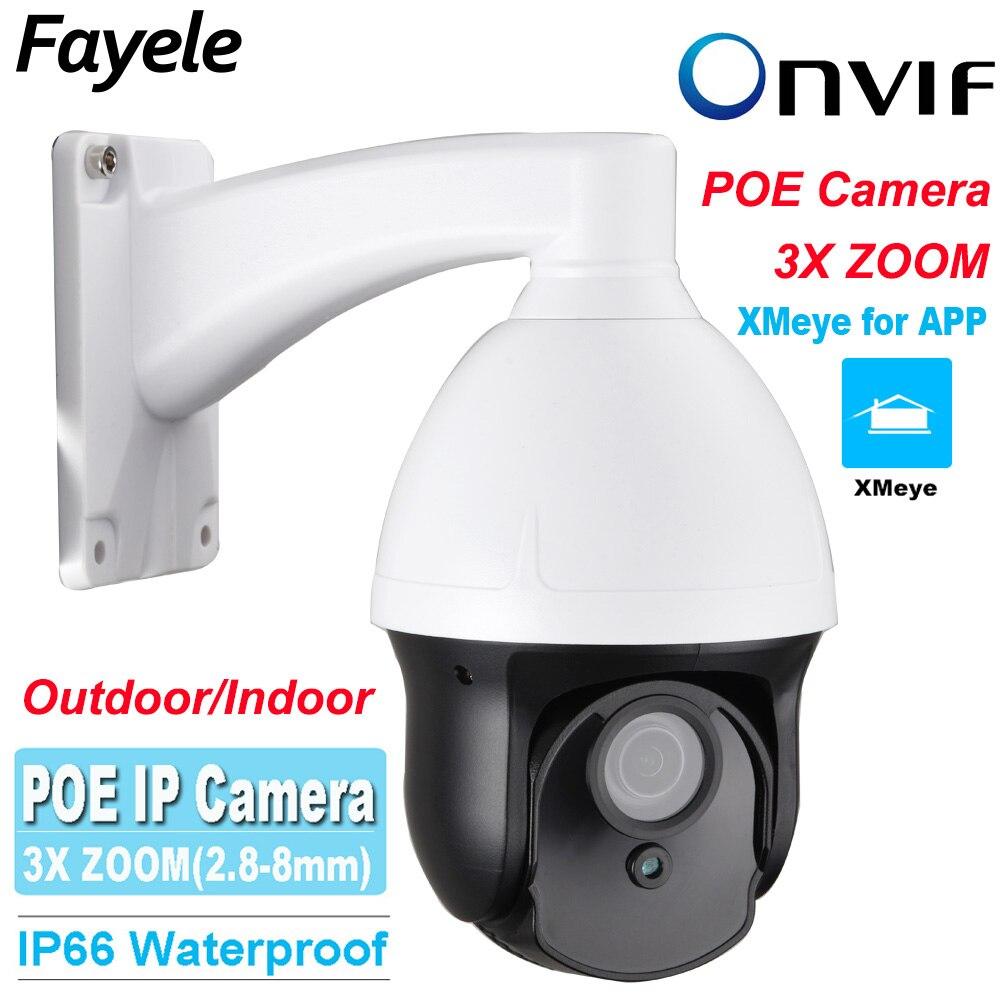 """imágenes para CCTV Seguridad Al Aire Libre 3 """"Tamaño MINI Speed Dome PTZ HD IP POE Cámara de Red 960 P ONVIF 1.3MP IR 40 M 2.8-8 MM 3X Optical ZOOM P2P"""