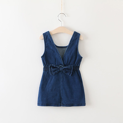 Girls' Clothing Enthusiastic New Girl Waist Bow Split Strap Dress Child Cotton Denim Sand Wash Dress Mother & Kids