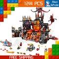 1244 unids nuevo 14019 combinación caballeros jestros vulkanfestung modelo building blocks juguetes nexus compatible con lego