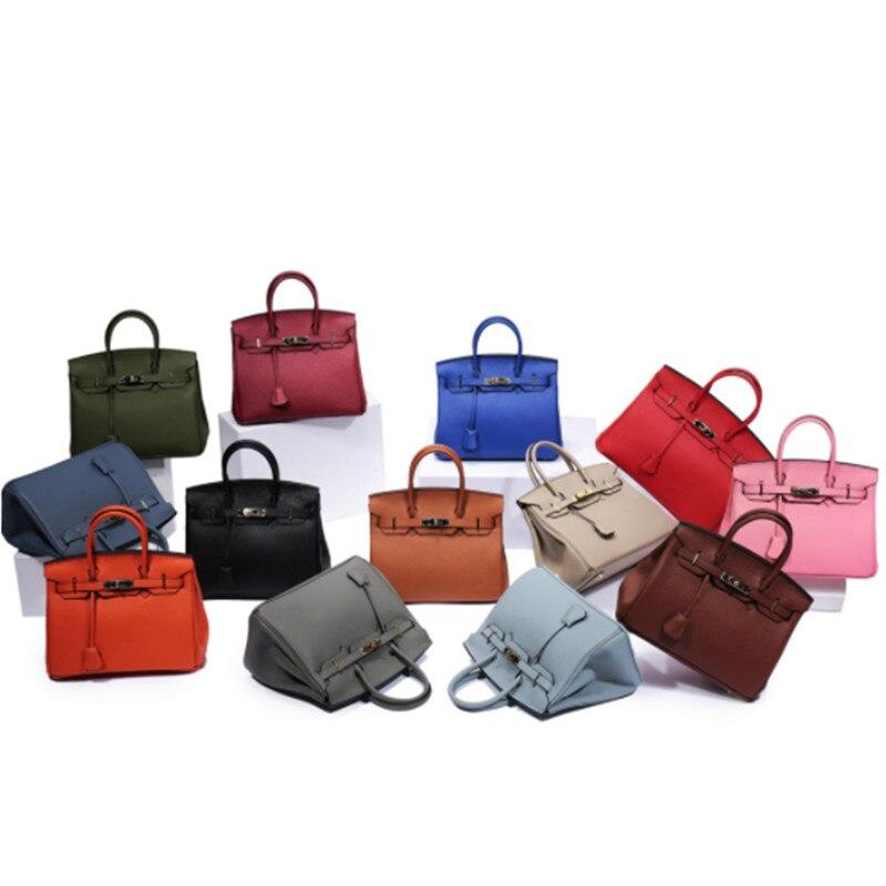 B0128 Luxury Handbags Women Bags Designer Classic 100% Genuine Leather Bag Ladies Tote Cowhide Bag Platinum Clutch bag 25-35CM chispaulo women genuine leather handbags cowhide patent famous brands designer handbags high quality tote bag bolsa tassel c165