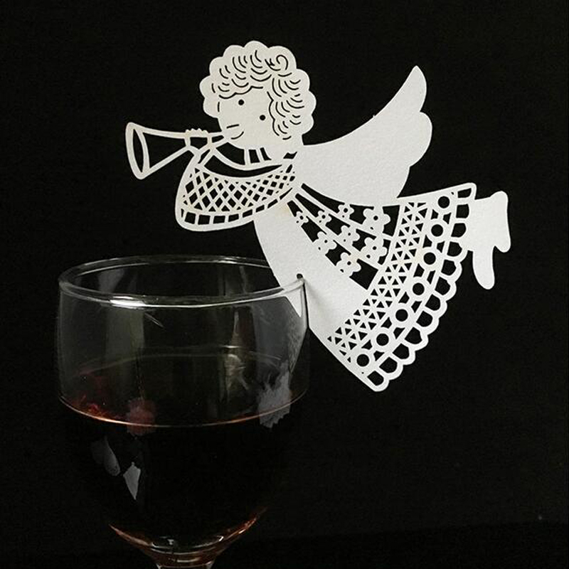 10 Colos 50pcs Angel Shaped Laser Cut Table Mark Wine Glass Name Place Cards Wedding Birthday Baby Shower Party Favor Supplies