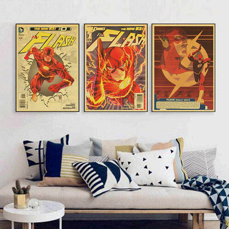 Cartoon Anime The Flash Wally West Vintage Paper Poster Wall Painting Home Decoration 42x30 Cm 30x21 Cm