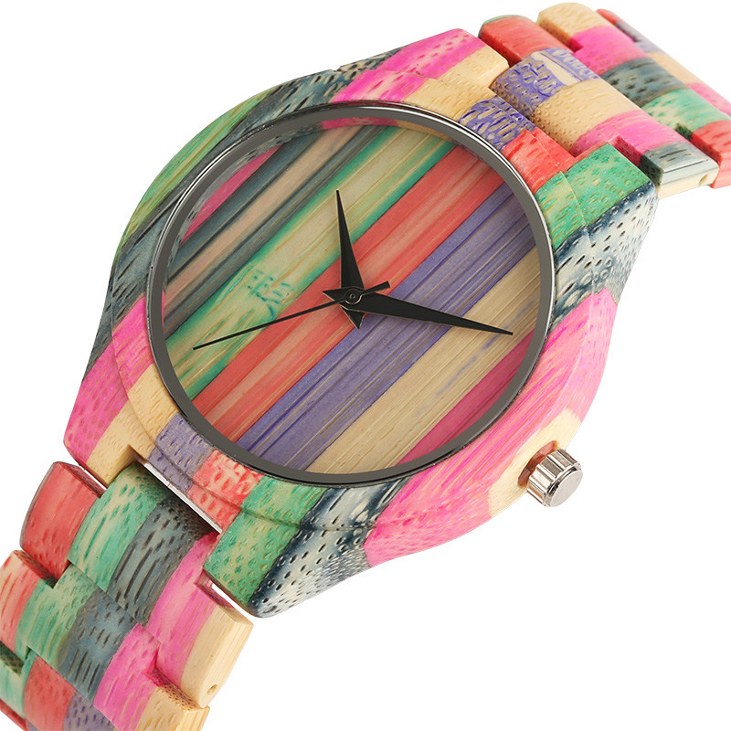 Unique Fashion Bamboo Watches Quartz Mens Bangle Wrist Watch Bracelet Clasp Analog Display Handmade Wood Clock Gift for Male yisuya creative fashion full bamboo triangular quartz wrist watch men simple unique novel analog hollow bangle nature wood clock