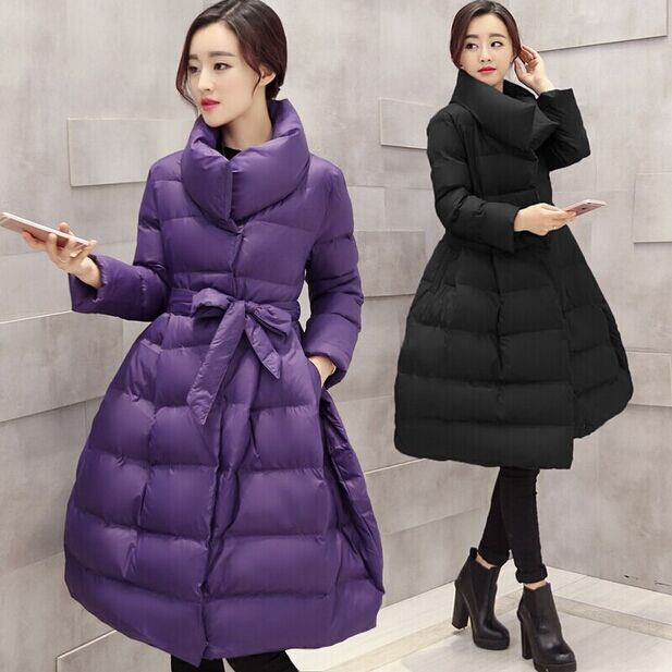 Limited Coat Women 2015 Winter Jacket Long Clothing Skirt Thick Sashes Solid Offer Wadded Coats Down Parka Woman Jackets Bow