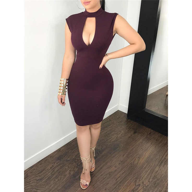 Sexy Women Summer Deep V Neck Dress Sleeveless Lace Backless Bodycon Party  Club Short Mini Tight 6495790f6